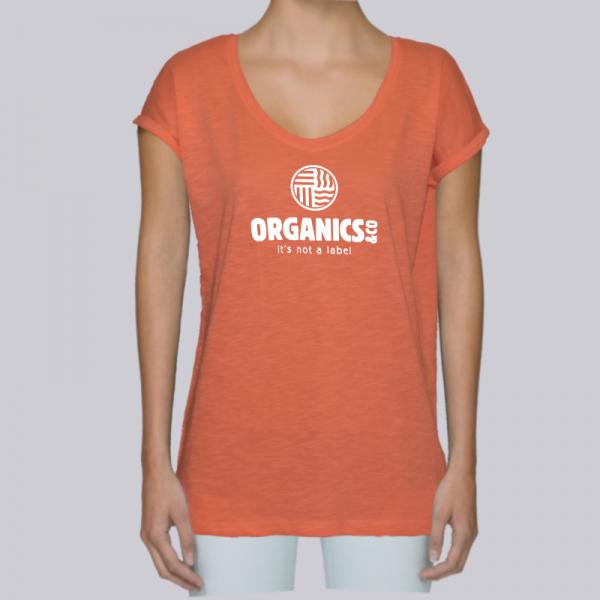 camiseta-ecologica-mujer-naranja-logo