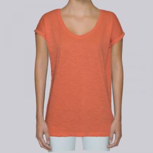camiseta-ecologica-mujer-naranja-lisa