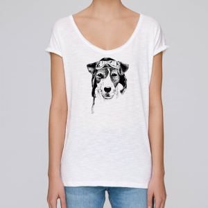 camiseta-ecologica-mujer-blanca-perro