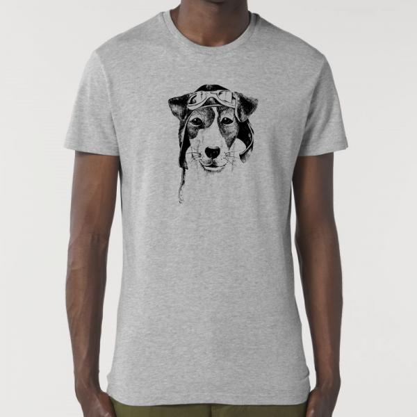 camiseta-ecologica-hombre-gris-perro